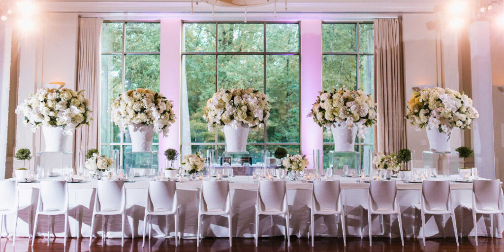 head tables - there are options - a long head table in the center of a wedding