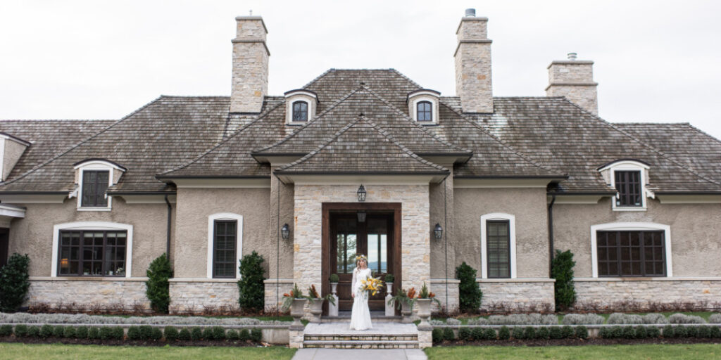 ceremony and reception - one venue or two - bride outside venue