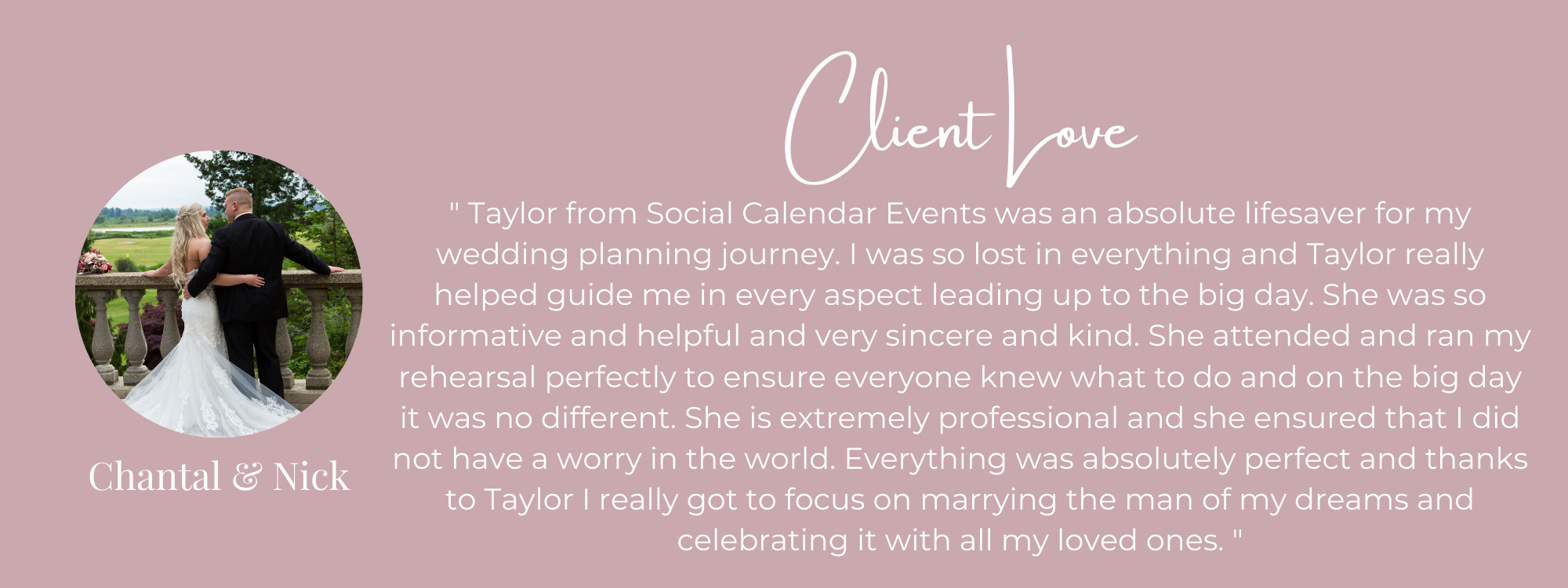 wedding client review for wedding planner