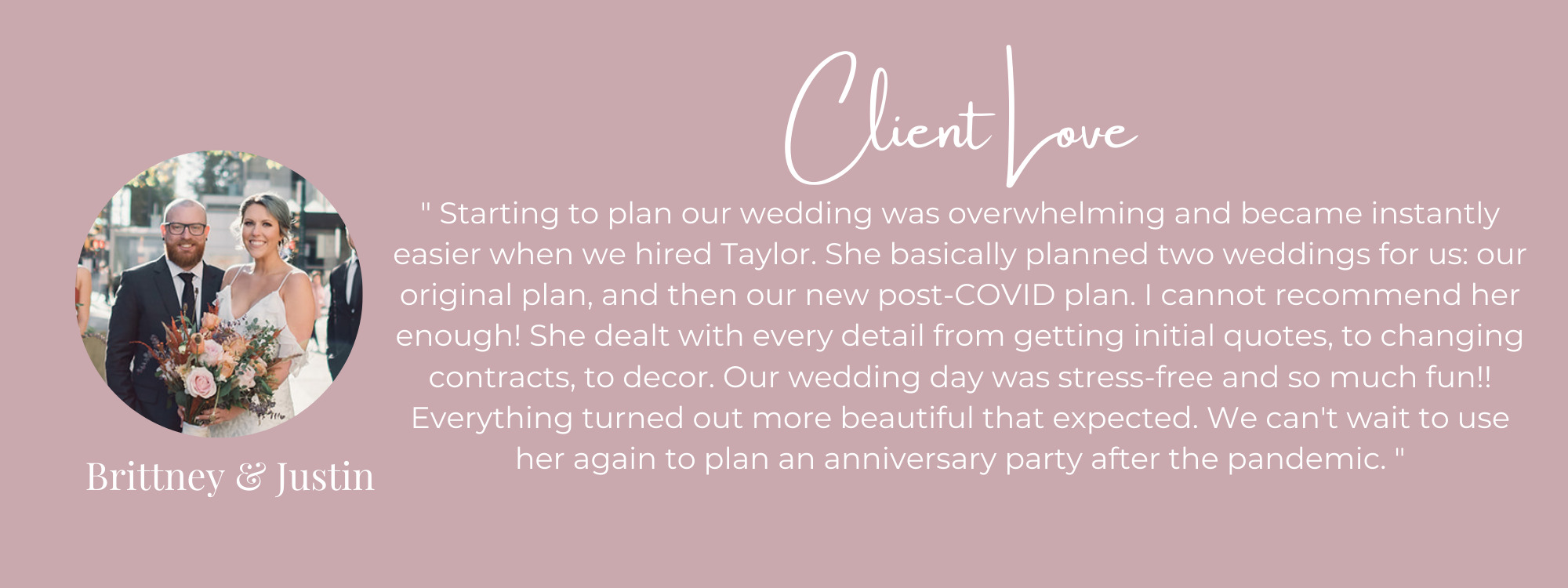 wedding planner review from bride